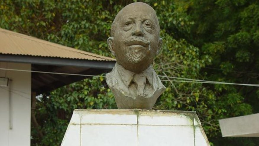 Face sculpture of W.E.B Du Bois at the Du Bois center in Accra