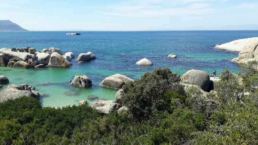 The crystal clear waters of Boulders Beach