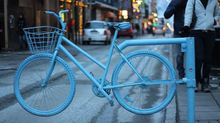 Blue bike Barrier