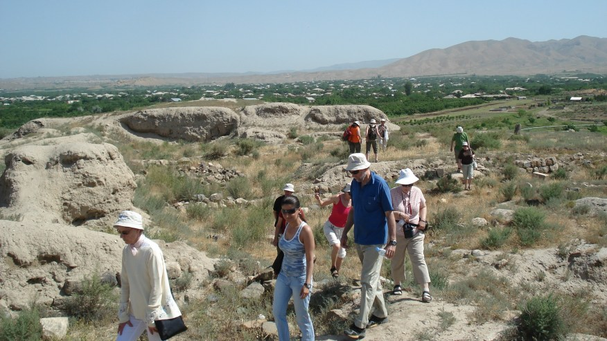 walking through rocky terrain