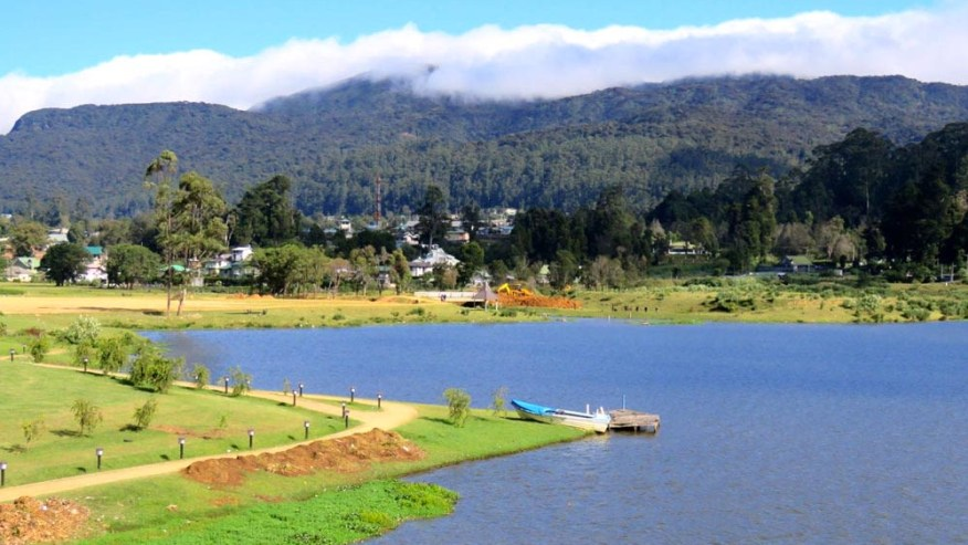 Lake besides mountains