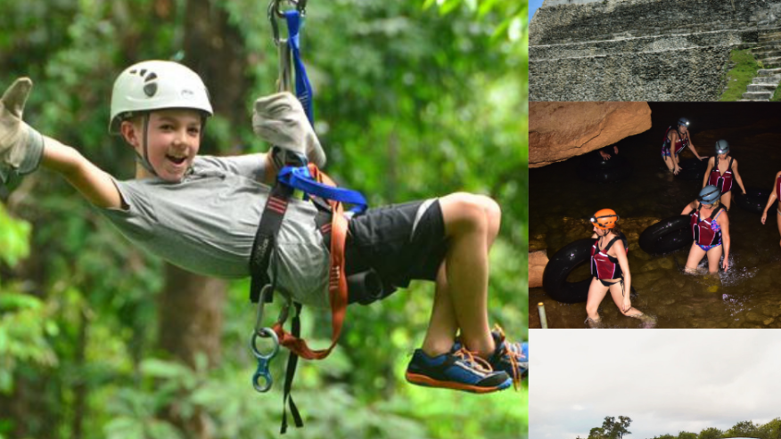 Ziplining and cave exploration