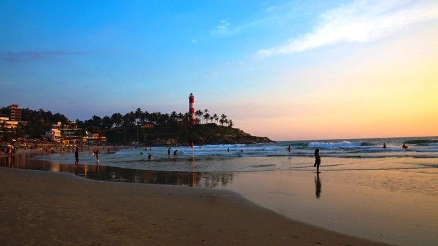 a lighthouse on the beach