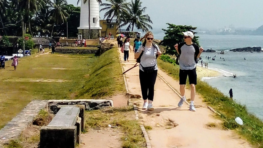 Strolling along the coastline