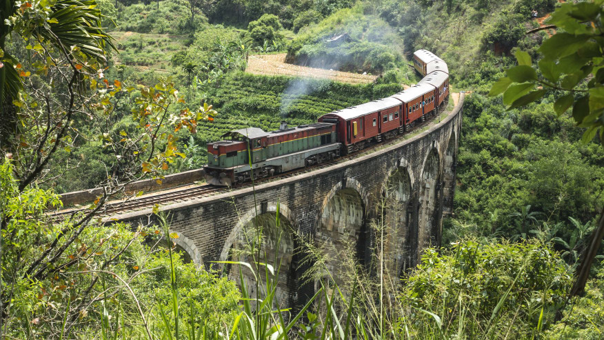 Train on bridge in the mountains