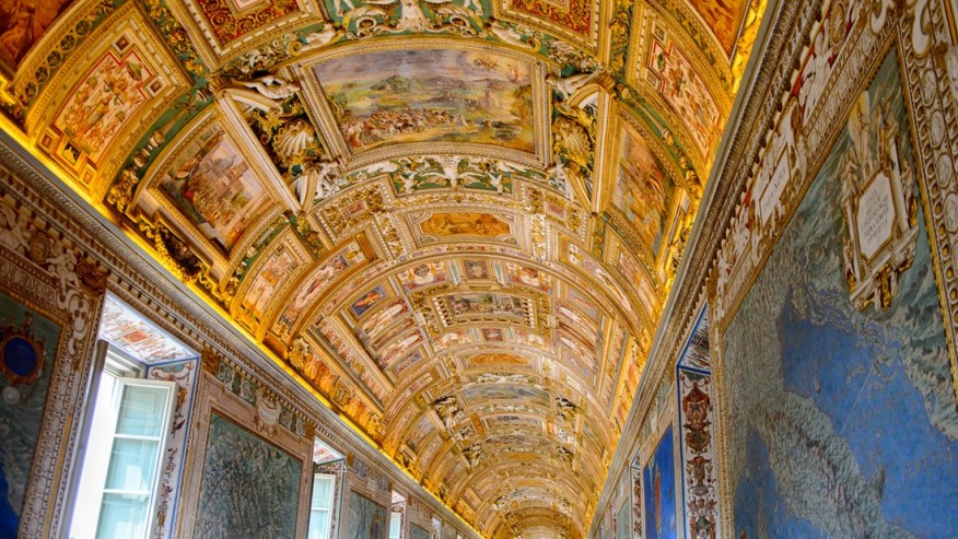 The golden ceiling of the Vatican Museum