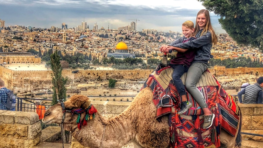 A camel ride at Mount of Olives