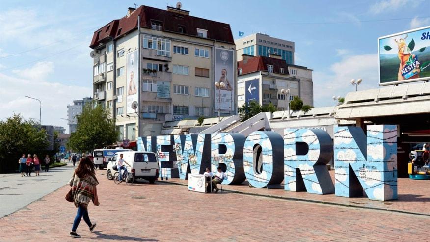 """The """"Newborn"""" monument in Pristina, Kosovo"""