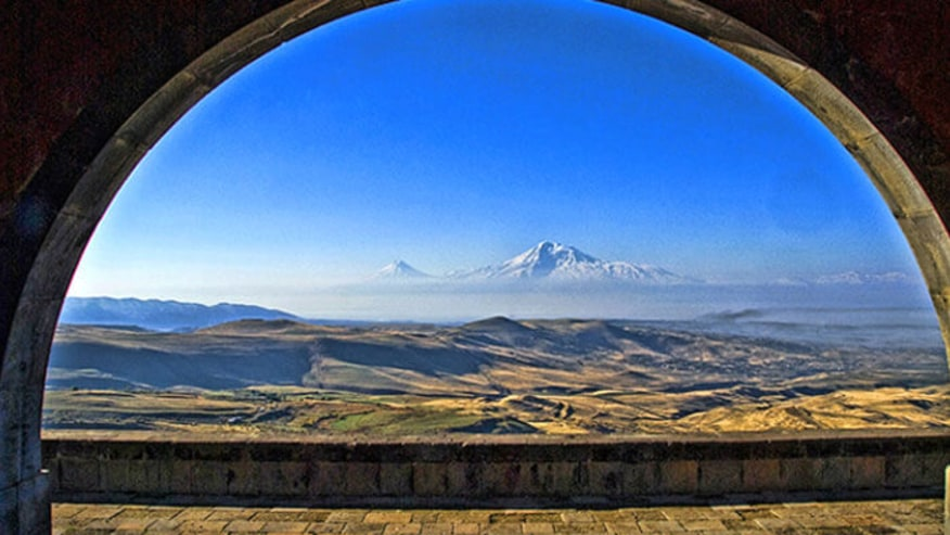 View of Mount Ararats from Garni Temple