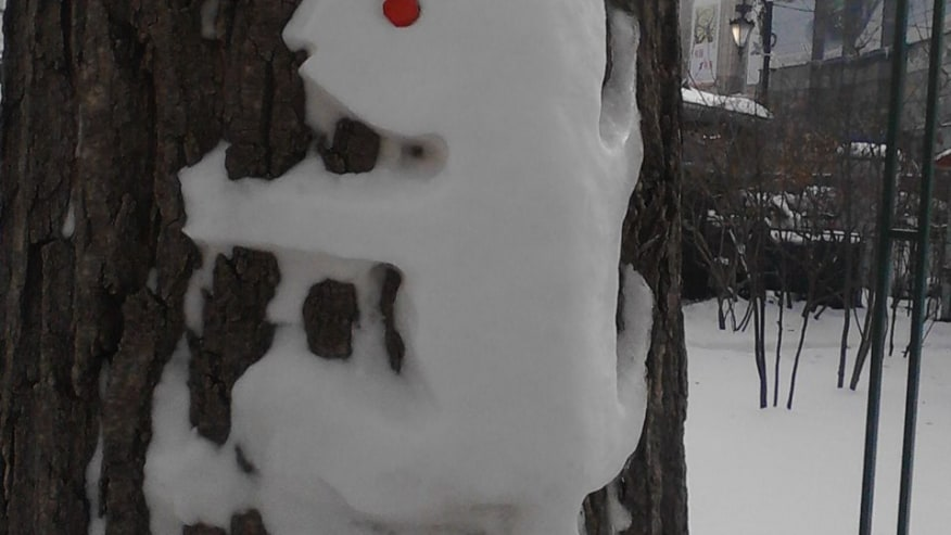 See the snow animals in trees