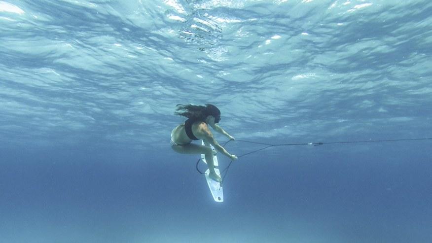 skiing underwater
