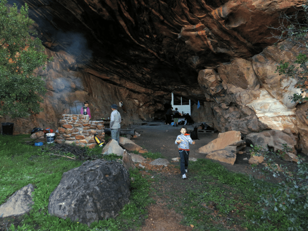 The cave and campsite