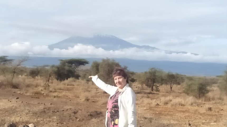 Our guest, on a lucky morning watch Mt Kilimanjaro