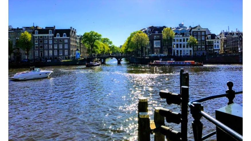 View on Herengracht from Amstel river