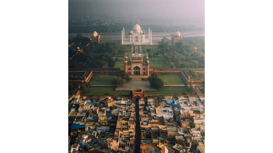aerial view of Taj Mahal