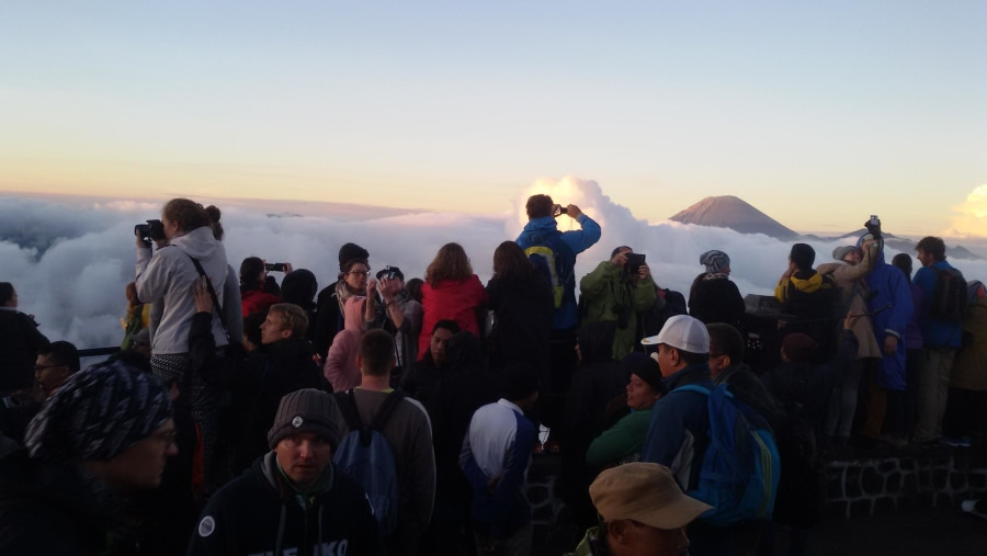 welcome sunrise from viewpoint of bromo volcano