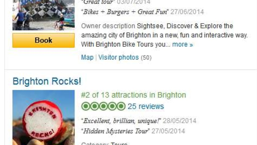 Trip Advisor has nominated Brighton Bike Tours as Brightons No1 tour in the city.