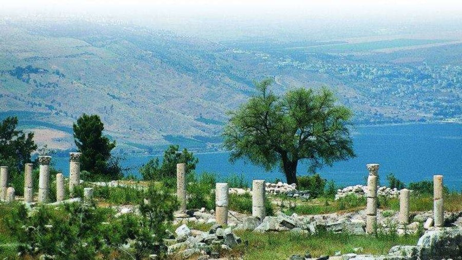 Biblical Gadara with panoramic View to the sea of Galilee