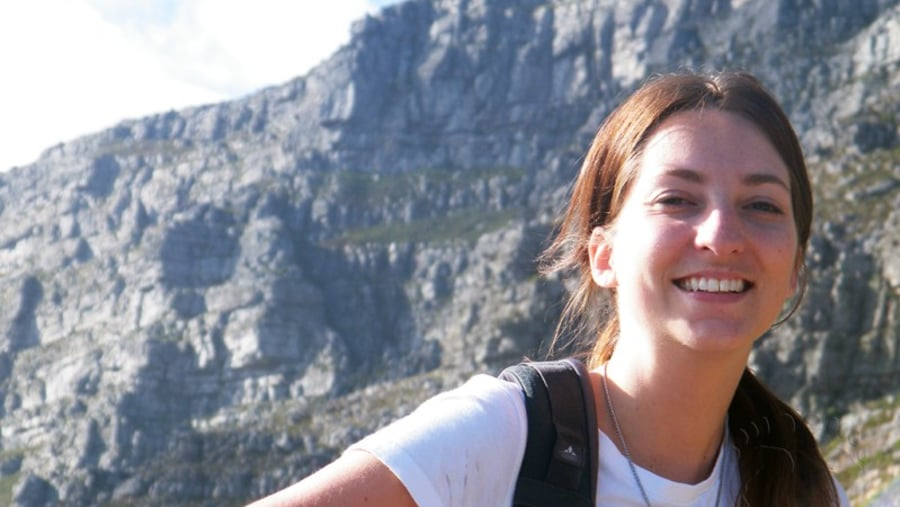 Glenda enjoying the hike up Table Mountain