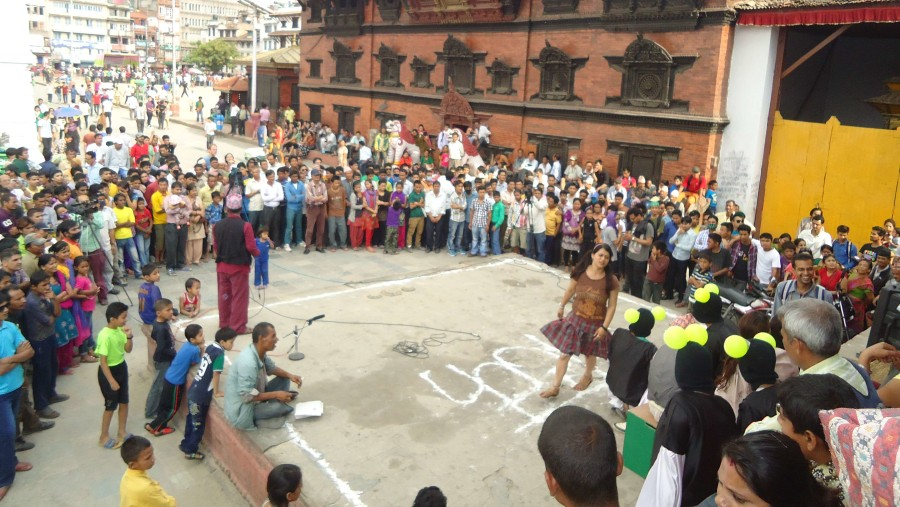 Mass of people to see the street drama in front of Kumari Temple..