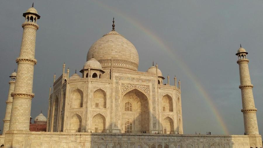 Taj with rainbow