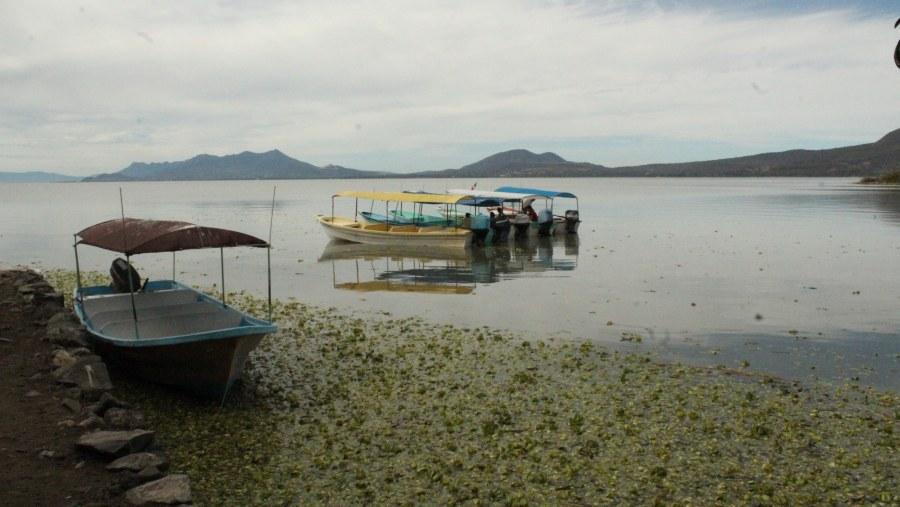 La lancha lista para llevarnos a la Isla de Mezcala