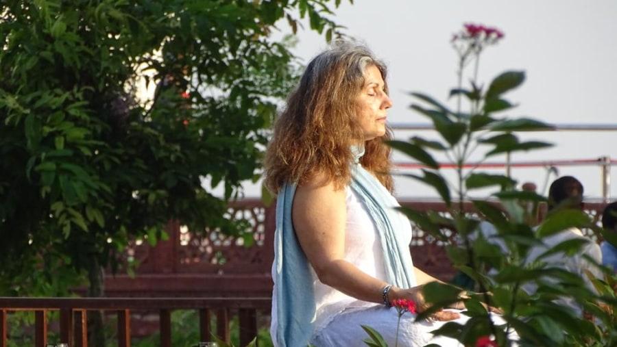 with David Greenspan Group from USA - Yoga Guru at Taj mahal