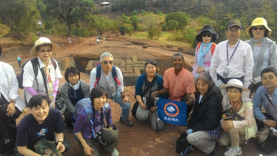 Me with Japanese visitors in Lalibela