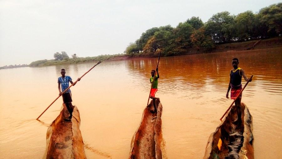 Boys of Dassenech with their Canoe @Omo River