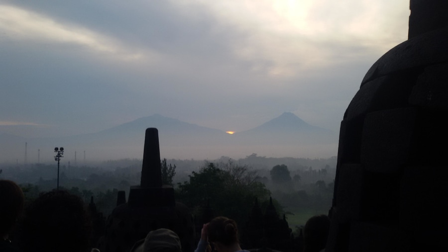 The great Borobudur sunrise 39 june.2016 appear from merapi mont so amazing.