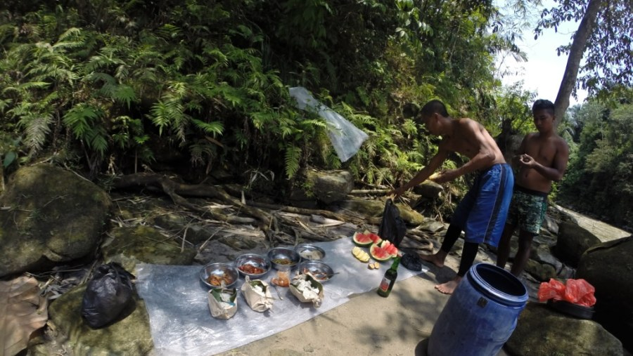 Our Captain and co-captain is busy preparing lunch, while we were busy exploring the surroundings and the Waterfall