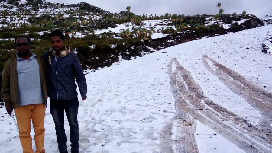During my research expedition in Abune yoseph massif( luckily for me i found ice in Ethiopia which is very rare.)