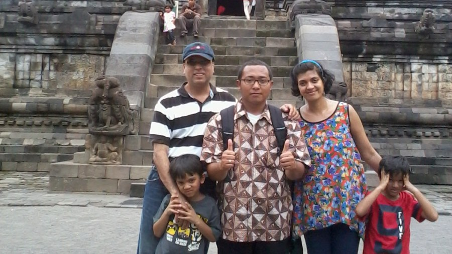 Mr.Neil & his family in Mendut Temple