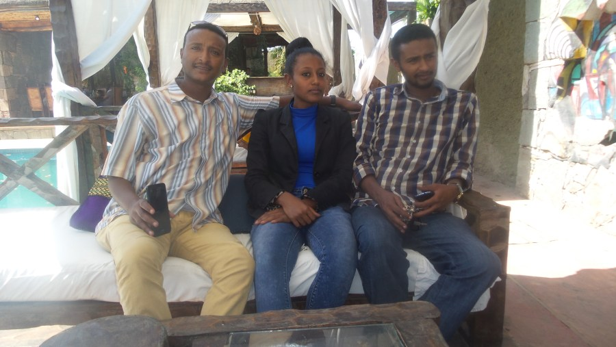 Me, my sister and brother in one of the hotels around Addis Ababa