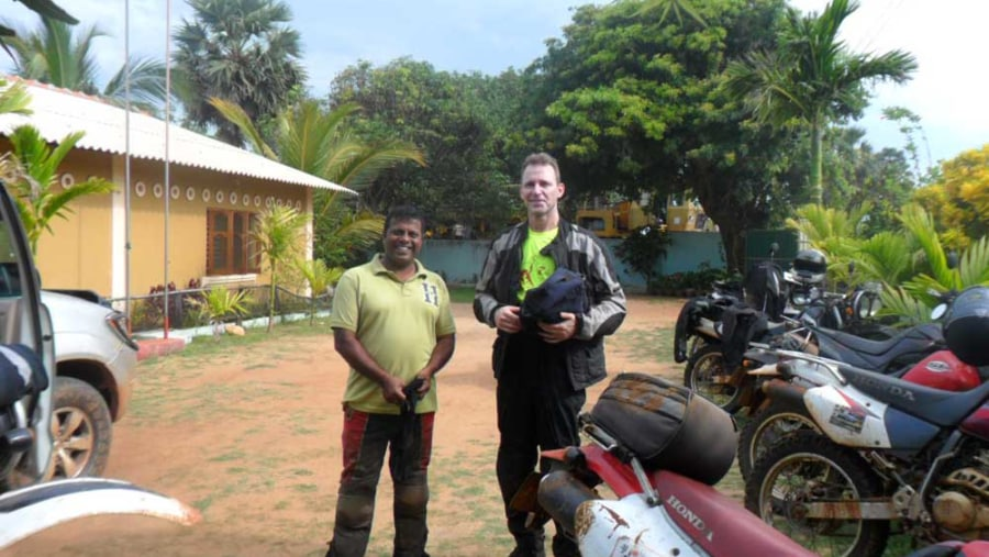 Dayan Chinthaka Taking tourists on motorcycle tour