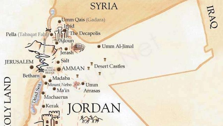 touristic sites - Jordan Map