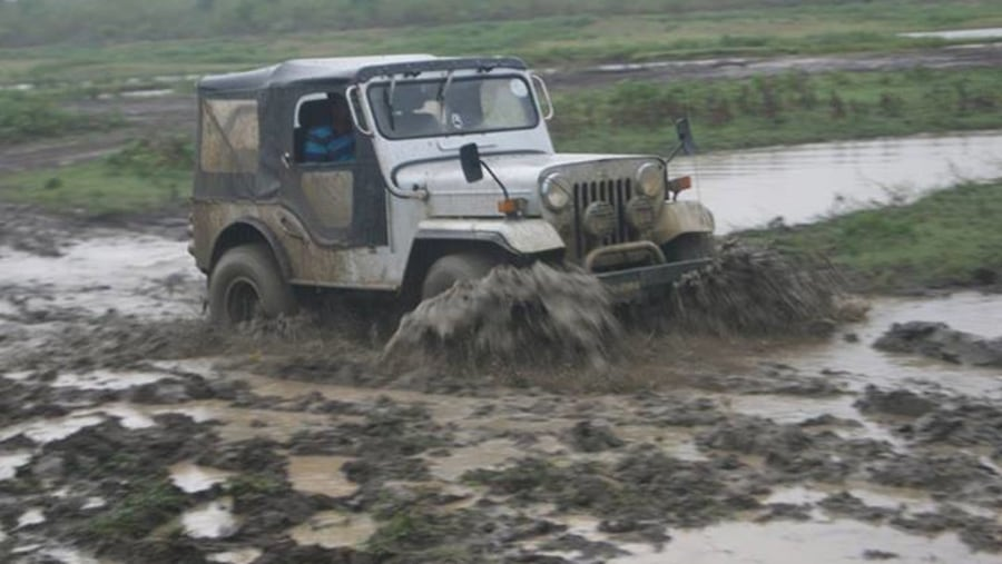 Carging through mud.