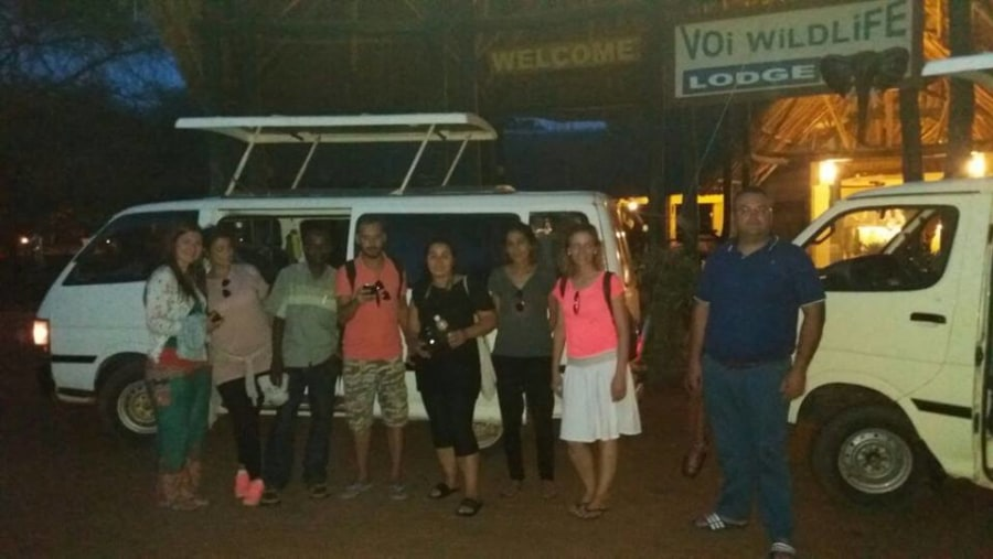 At Voi wildlife lodge after evening game drive