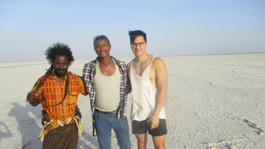 Me with a client and a local security guard at Afar, Denakil Depression, Ethiopia