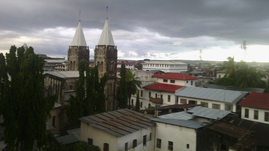Catholic Church (the two towers) in Stone town an photo taken from roof top restaurant at Chavda Hot
