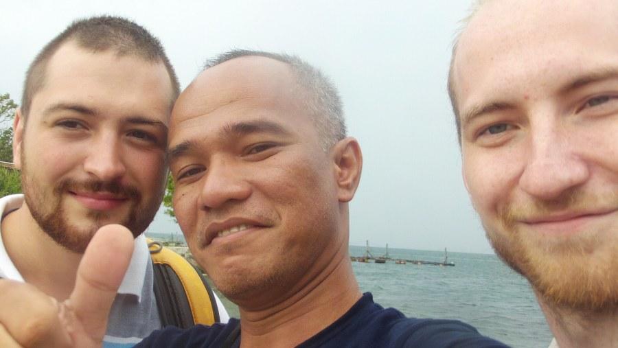 Oleg - Dave - Victor on the beach in Samosir near the Tao Island