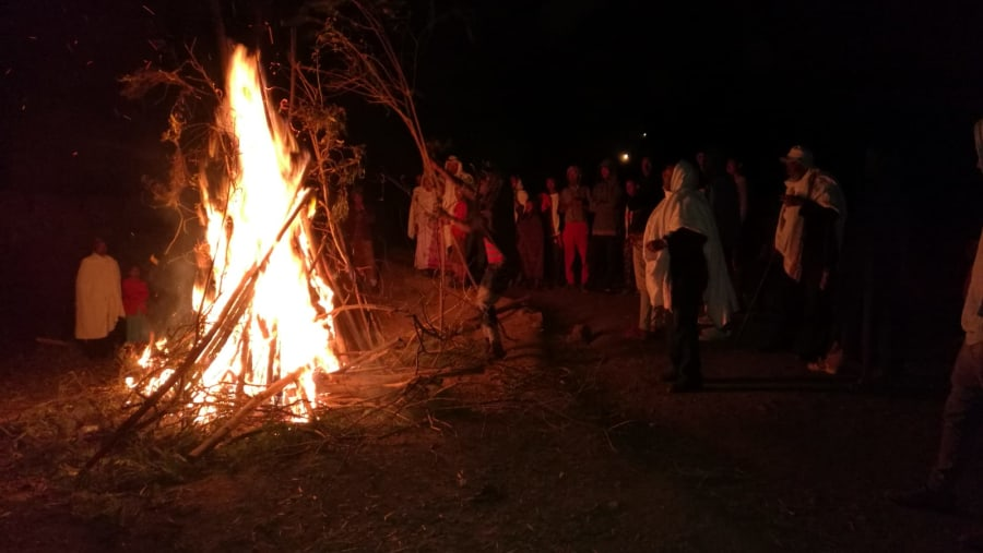 While my tourists experiencing the local bonfire at the time of Meskel celebration