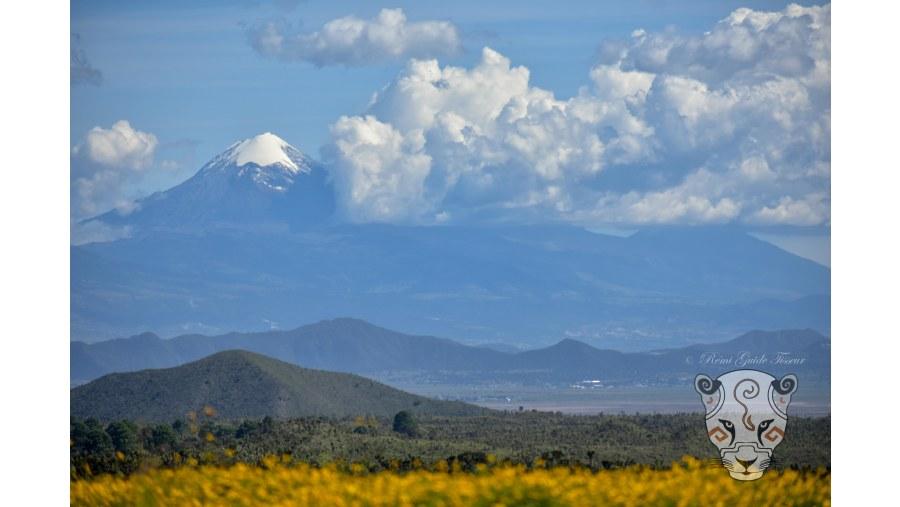 Ciltaltépetl Volcano (the star mountain) from Cantona Archeological Site