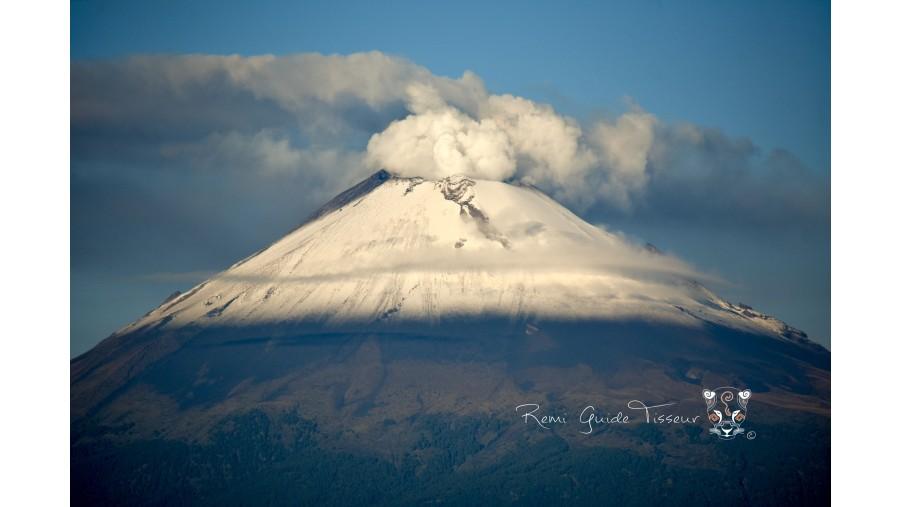 Popocatepetl volcano smoking at morning