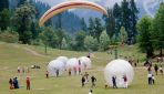 Solang valley(Snow Valley),winter adventure sports like skiing, parachuting, paragliding, trekking