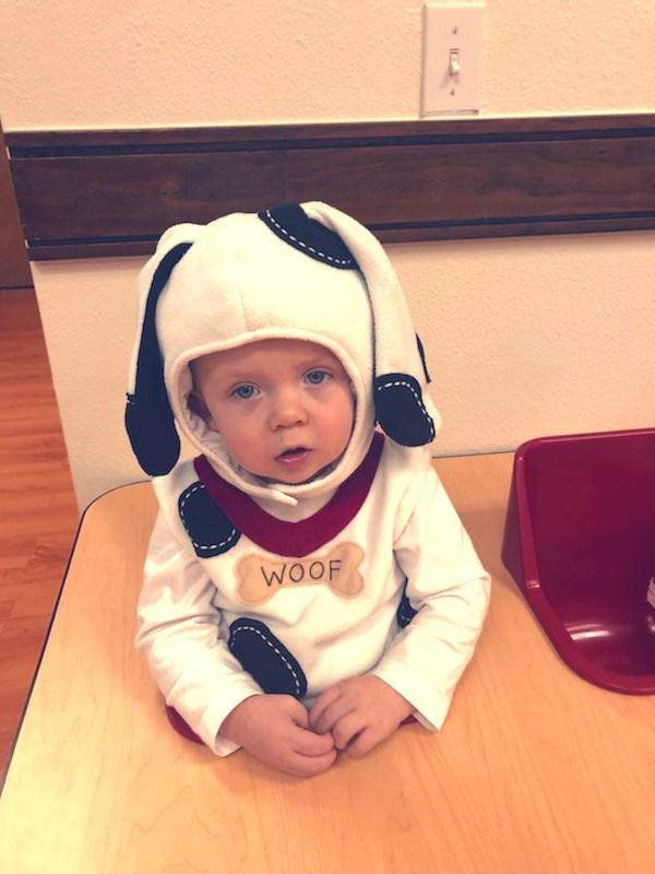 Baby in dog costume