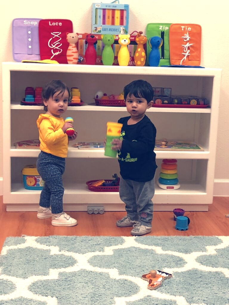Kids looking for toys