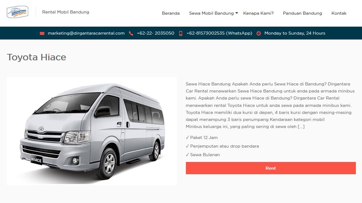 Rental Mobil Bandung Lepas Kunci Murah