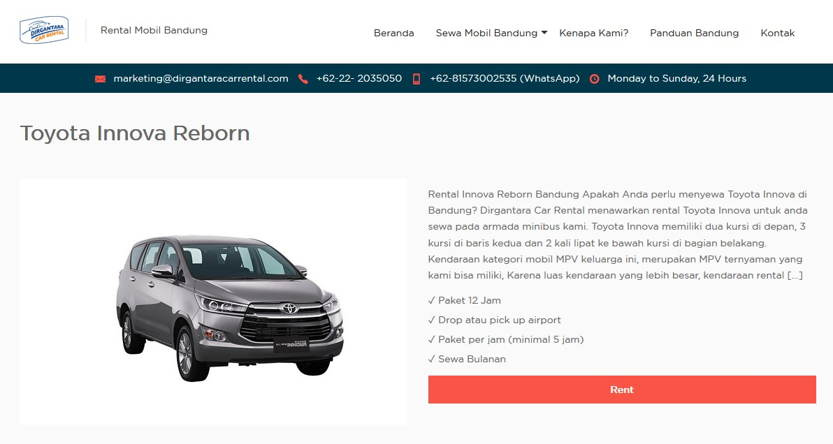 Rental Mobil Bandung 24 Jam