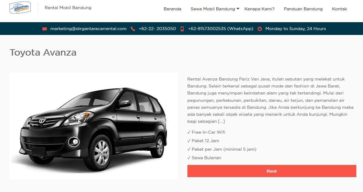 Rental Mobil Bandung Bulanan